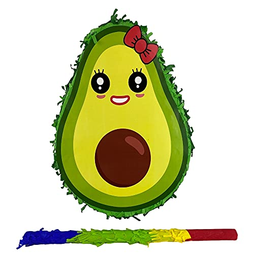 Avocado with bow Pinata small-scale Pinata perfect for themed Birthday Party, 5 de Mayo, Photoprop for streaming, Centerpiece and Decoration. Easy Fill. Includes Assorted Color Stick for Piñata Game