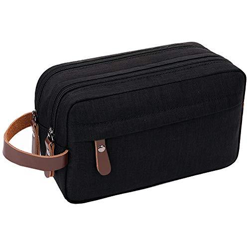 Mens Toiletry Bag Dopp Kit Travel Bathroom Bag Waterproof Shaving Shower Cosmetic Organizer (Black)