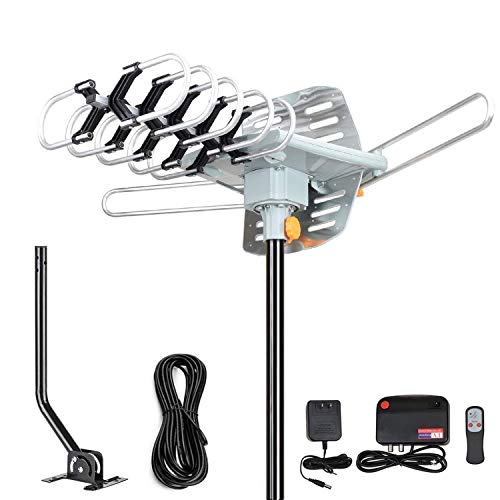 2020 Version Outdoor Amplified Digital HDTV Antenna - 150 Mile Motorized 360 Degree Rotation- Amplified HD TV Antenna for 2 TVs Support UHF/VHF 4K 1080P Channels Wireless