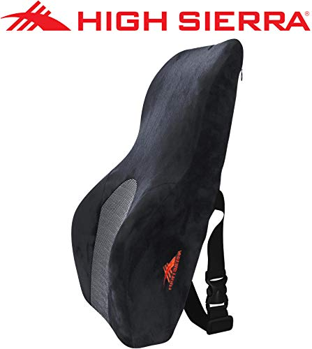 High Sierra HS1434 Back Support/Black Full Size Ergonomic Pillow Premium Memory Foam Lumbar Cushion for Office Chair, Car, SUV Fits Most Seats