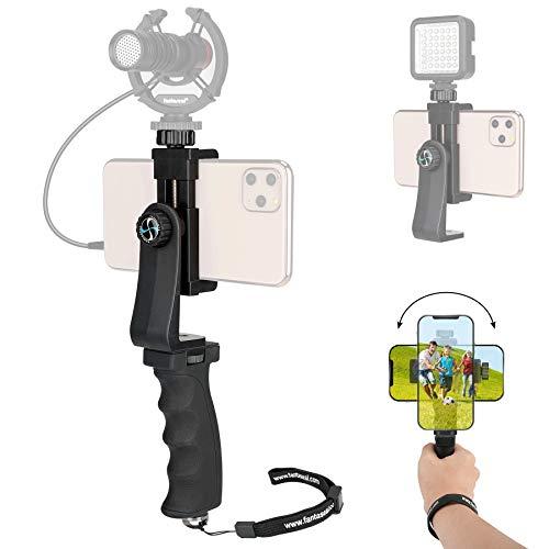Ergonomic Anti-Slip Smartphone Vlogging Hand Grip Stabilizer Mobile Cell Phone Video Holder Rig Handle Travel Selfie Stick w/ Clamp Mount for iPhone Samsung (Landscape+Portrait)-Mic /Light Adaptable