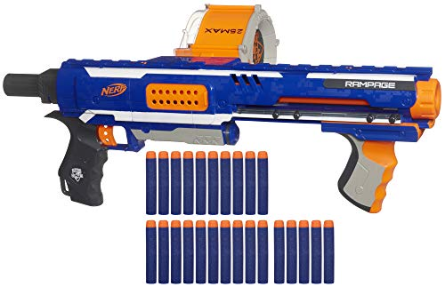Nerf Rampage N-Strike Elite Toy Blaster with 25 Dart Drum Slam Fire & 25 Official Elite Foam Darts for Kids, Teens, & Adults (Amazon Exclusive)