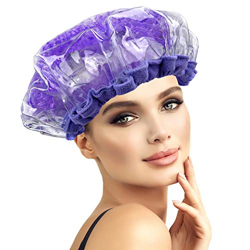 PrimoDiva Cordless Deep Conditioning Heat Cap. Hair Treatment and Styling Steam Cap. Hot Therapy for Thermal Head Spa. Microwavable Steamer Gel Cap. Disposable Processing Caps Included.(Purple)
