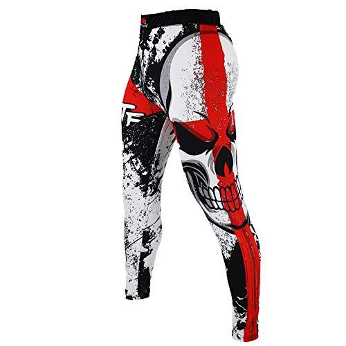 SUOTF MMA Boxing Sports Breathable Cross Skull Tight Pants Tiger Muay Thai Fist Pants Running Fights Kickboxing Shorts MMA (XXL)