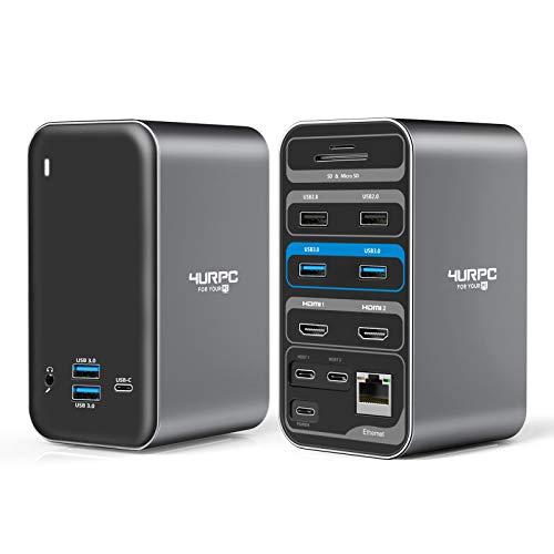 4URPC MacBook Pro Docking Station Dual Monitor HDMI 4K, 14-IN-2 USB C Triple Display Laptop Docking Station for MacBook Pro Air - 2x 4K HDMI, 6xUSB, SD TF Reader, RJ45 Ethernet, 3.5mm Audio/Mic, PD3.0