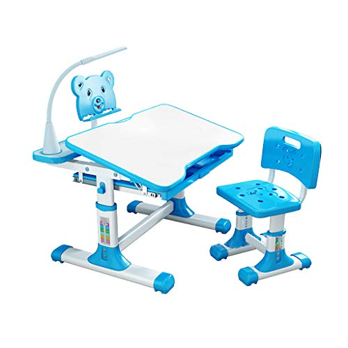Kids Desk and Chair Set, Height Adjustable Kids Table and Chair Set, Home School Use Anti-Reflective Children Study Table with LED Light/Reading Board/Pull-Out Drawer (70 x 50cm, Tiltable Blue)