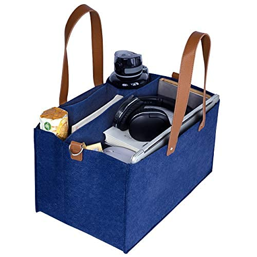 Premium Carryall Utility Tote - Home Office Work Tote Bags for Women - Diaper Caddy, Art Supply Organizer - Teacher School Supplies File Folder - Portable Storage Caddy Organizer with Handle (Blue)
