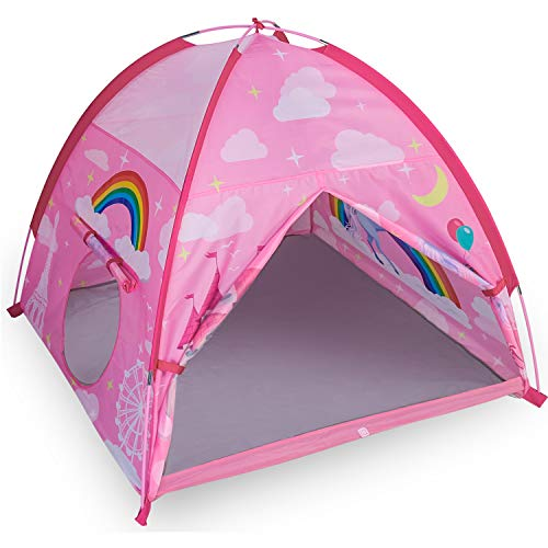 """MountRhino Unicorn Play Tent Playhouse for Kids -48""""x48""""x42 Indoor Outdoor Pink Princess Castle Girls Play Tent, Portable Kids Pop Up Tent for Play Camping Playground Games & Gift"""