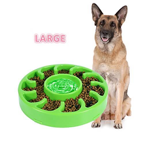 JASGOOD Slow Dog Bowl for Large Dogs,Anti-Gulping Dog Slow Feeder Stop Bloat,Slow Eating Big Pet Bowl (D-Green)