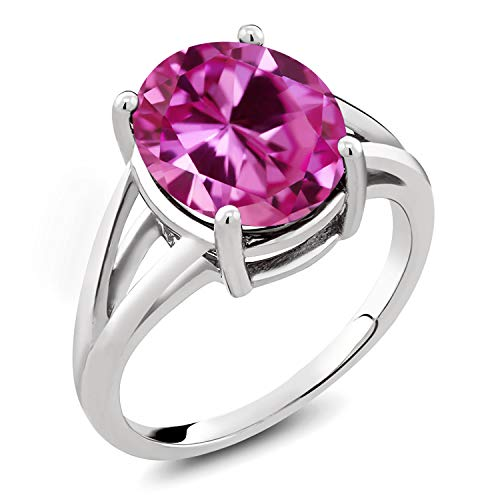 Gem Stone King 925 Sterling Silver Pink Created Sapphire Women's Ring 7.50 Cttw Jewelry Oval (Available 5,6,7,8,9) (Size 7)