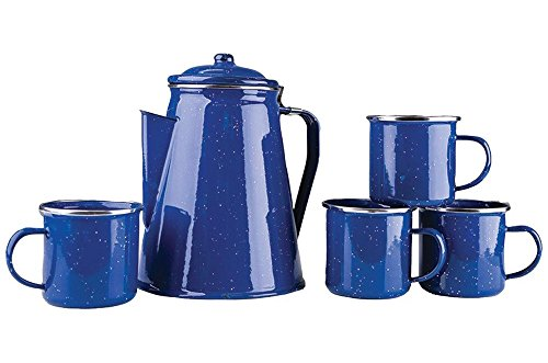 Stansport 8 Cup Enamel Percolator with Four Enamel Mugs, 12-Ounce, Blue