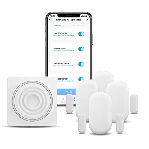 WiFi Security System Door Sensor Compatible with Alexa,APP Control and Message Alert Function, 4 Door Open Alarm and 1 Wi-Fi Gateway, No Monthly Fee - Only Support 2.4G(5 Kits)