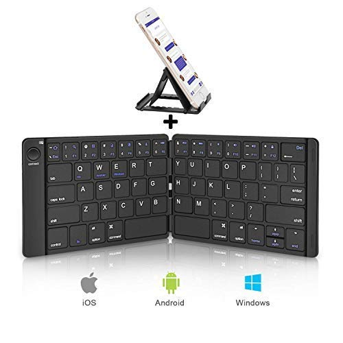 Sounwill Foldable Keyboard, Wireless Portable Keyboard with Stand Holder, Pocket Size Ultra Slim Premium Leather Folding Keyboard Compatible iOS Windows Android Smartphone, Tablet, Laptop and More