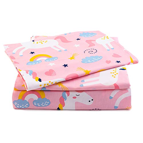 Sivio Twin Size Bed Sheets Pink Unicorn Theme 3 Piece Kids Bedding Set │ Unisex, Super Soft Cozy Cotton, Durable, Moisture Wicking Bedding | 1 Flat & 1 Fitted Sheet, 1 Pillow Cases | 14' Deep