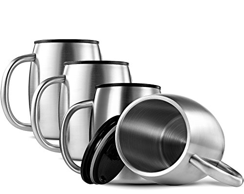 FineDine Double Wall 18/8 Stainless Steel Coffee Mugs with Spill Resistant Lids Insulated Coffee Travel Mug with Comfortable Handle for Hot & Cold Drinks, Shatterproof Coffee Cups, 14 Oz. (Set of 4)