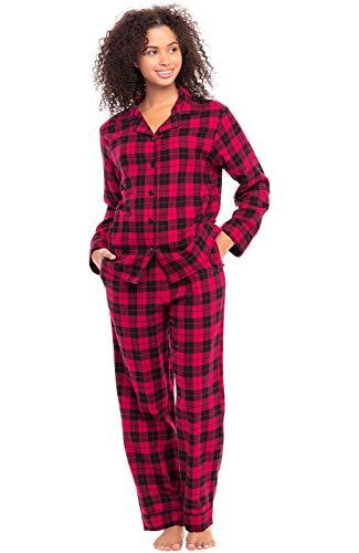 Alexander Del Rossa Women's Warm Flannel Pajama Set, Long Button Down Cotton Pjs, Large Women's - Red Buffalo Check Plaid (A0509Q42LG)