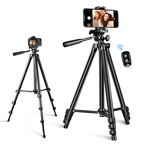 Phone Tripod, Torjim 50-inch Extendable and Lightweight Aluminum Tripod Stand with Wireless Remote Shutter, Phone Clip, Portable Travel Tripod for Photography, Video Recording, Vlogging, and More
