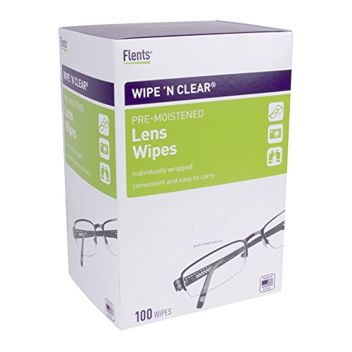 Wipe'N Clear Lens Wipes by Flents, 100 Lens Cleaning Wipes, Anti-Streak & Fast Drying, 5'x6',100 Count