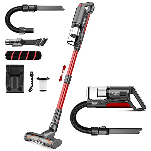 Cordless Vacuum Cleaner,SANCORP by whall 22000pa 5 in 1 Cordless Stick Vacuum Cleaner,250W Brushless Motor,up to 53 Mins Runtime,Lightweight Handheld Vacuum for Home Hard Floor Carpet Pet Hair,Red