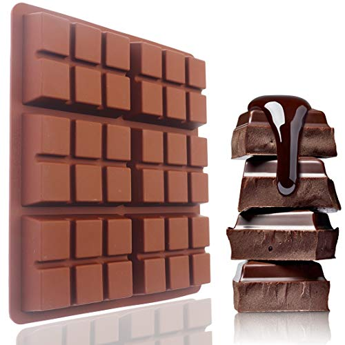 SAKOLLA Chocolate Bar Molds, Makes Standard-Sized Break Apart Candy Protein and Energy Bar Mold Baking Tray