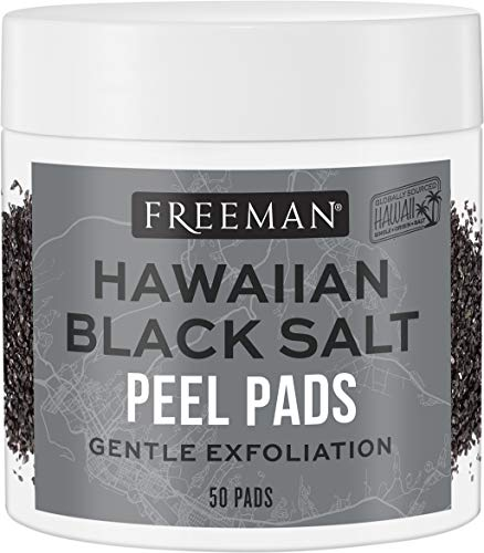 Freeman Hawaiian Black Salt Facial Pads, Exfoliating Facial Scrub Rounds, Skin Care Essential, Pack of 6