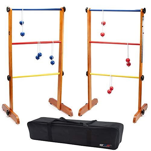 GSE Games & Sports Expert Premium Solid Wood Ladder Golf Ball Toss Outdoor Lawn Game Set with Ladderball Bolas & Carrying Case
