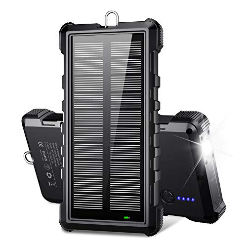 Portable Solar Charger, BEARTWO 24000mAh Solar Power Bank Panel Charger with 2 USB Outputs External Battery Pack High-Speed & Capacity Solar Phone Charger for Camping Outdoor for iOS Android (Black)