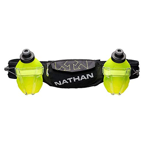 Nathan Hydration Running Belt Trail Mix Plus - Adjustable Running Belt – TrailMix Includes 2 Bottles/Flask – with Storage Pockets. Fits Most iPhones and Smartphones