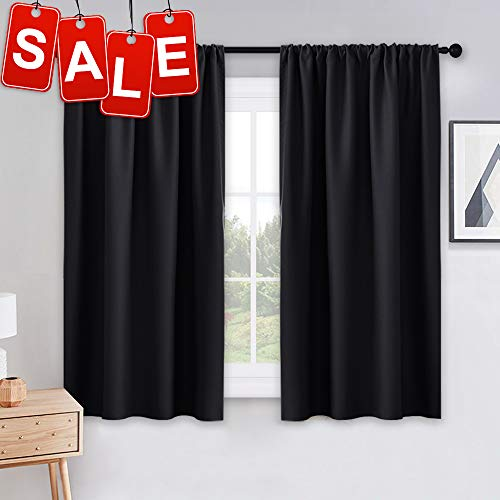 PONY DANCE Bedroom Blackout Curtains - Light Block Solid Soft Rod Pocket Energy Efficient Thermal Insulated Blackout Curtain Panels/Window Drapes for Home Decor, 42 by 45 in, Black, 2 Pieces