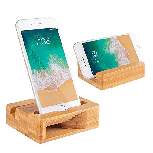 Encozy Cell Phone Stand with Sound Amplifier,Natural Bamboo Wooden Desktop Mobile Phone Holder (Sound Stand)
