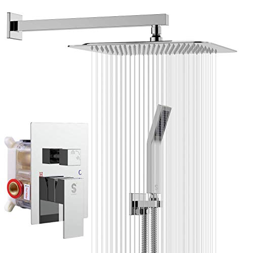 SR SUN RISE SRSH-F5043 10 Inches Bathroom Luxury Rain Mixer Shower Combo Set Wall Mounted Rainfall Shower Head System Polished Chrome Shower Faucet Rough-in Valve Body and Trim Included
