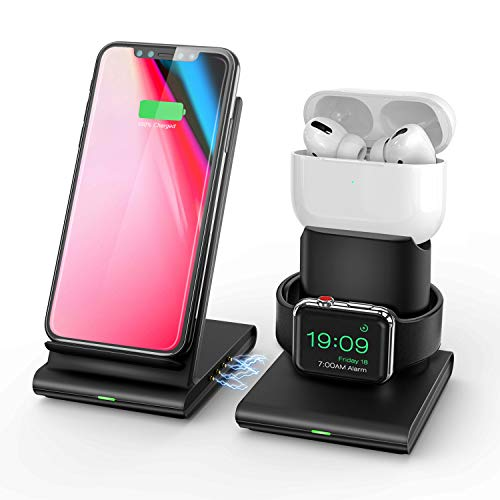 Upgraded Wireless Charger,3 in 1 Wireless Charging Station for iPhone/Apple Watch and Airpods Pro/2,Separated and Magnetic Charging Stand for iPhone 11 Pro/XR/Xs Max/X/8 Plus(No QC 3.0 Adapter)