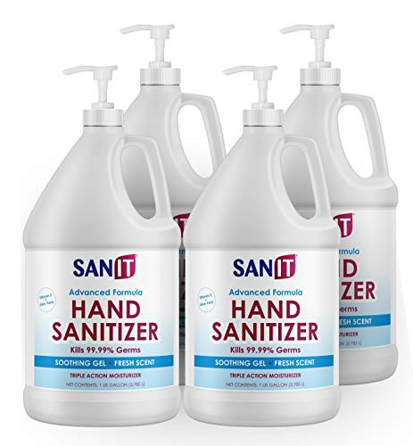 Sanit Moisturizing Hand Sanitizer Gel 70% Alcohol - Kills 99.99% Germs, Advanced Formula with Vitamin E andAloe Vera - Soothing Gel, Fresh Scent, Made in USA - 1 Gallonwith Pump, 4 Pack