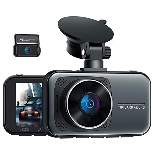 TOGUARD 4K Dual Dash Cam for Cars UHD 2160P+1080P Front and Rear Dash Camera, 3' Display Car Dashboard Camera Capacitor Drive Recorder w/Hardwire Kit 24H/7 Parking Mode G-Sensor Support 256GB SD Card