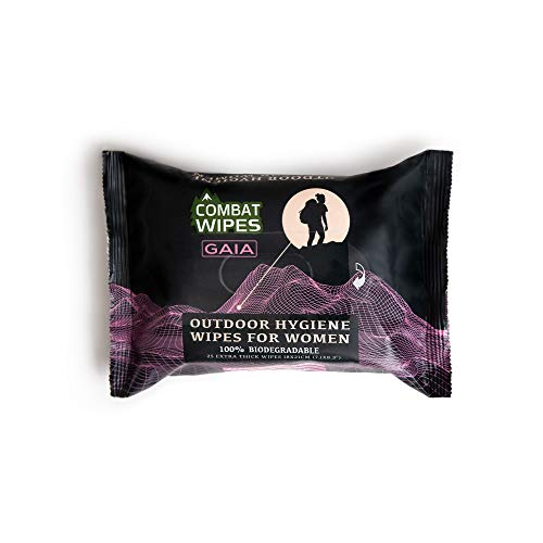 Combat Wipes Gaia | Feminine Hygiene Outdoor Wet Wipes | Extra Thick, Ultralight, Biodegradable, pH Balanced Body & Hand Cleansing Cloths for Women w/Aloe (25 Pack)