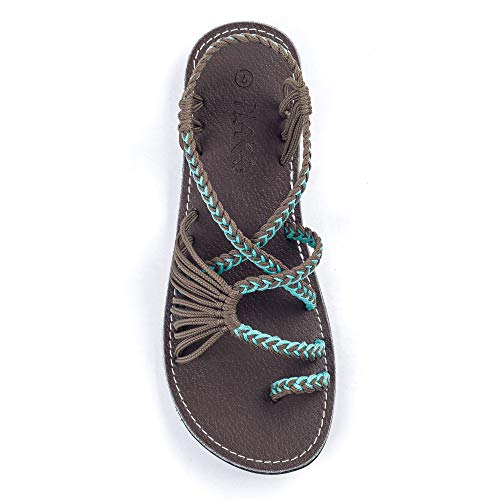 Plaka Palm Leaf Flat Summer Sandals for Women   Perfect for The Beach Walking & Dressy Occasions   Turquoise Gray   Size 8