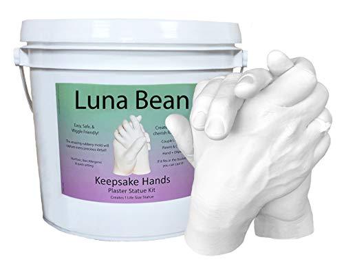 Luna Bean LARGE Keepsake Hands Casting Kit | DIY Plaster Statue Molding Hand Holding Craft Kit for COUPLES, Adult & Child, Wedding, Friends, Anniversary Gift