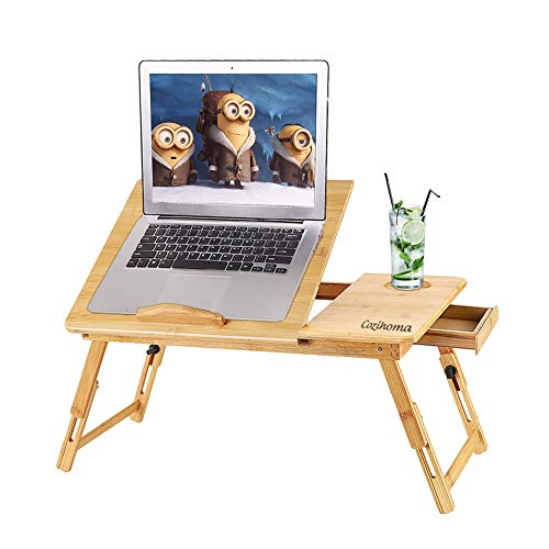 Cozihoma Laptop Desk Bamboo for Bed and Sofa, Portable Adjustable Lap Desk Table Stand Up/Siting Foldable Breakfast Serving Bed Tray with Drawer, Ergonomics Design