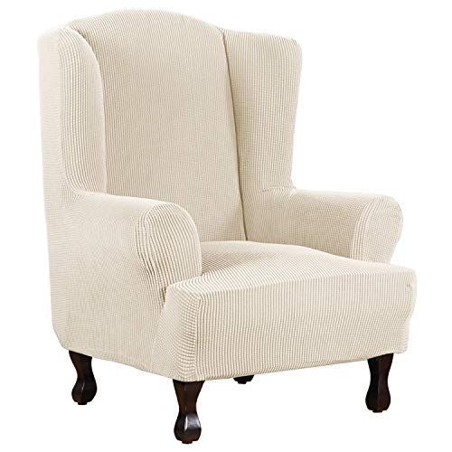 1 Piece Super Stretch Stylish Furniture Cover/Wingback Chair Cover Slipcover Spandex Jacquard Checked Pattern, Super Soft Slipcover Machine Washable/Skid Resistance (Wing Chair, Natural)