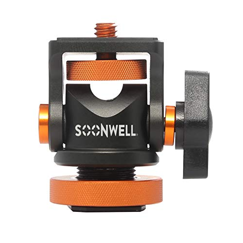 Mini Ball Head Ballhead Hot Flash Shoe Mount Adapter 1/4 Inch Screw with Wrench for DSLR Camera Microphone LED Video Light Monitor Tripod