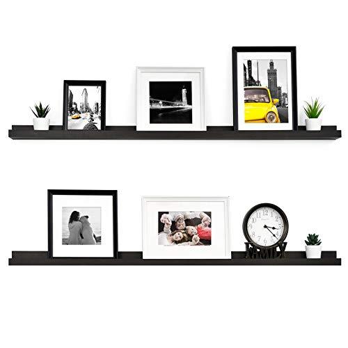 WELLAND Vista Photo Ledge Picture Display Wall Shelf Gallery, 48-inch, Set of 2, Espresso