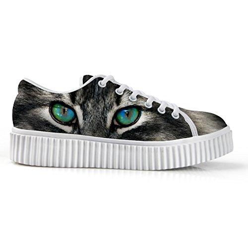 HUGS IDEA Casual Low Cut Sneakers Kitty Cat Print Platform Flatform Shoes US10