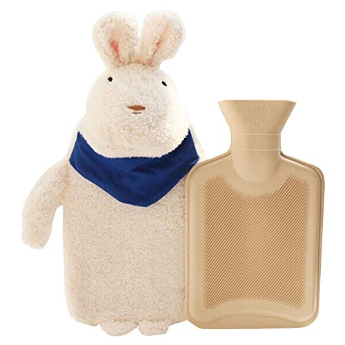 Premium Classic Rubber Hot Water Bottle with Cute Stuffed Plush Rabbit Animal Cover for Kids,Great Hand Warmer for Pain Relief,Hot and Cold Therapy,Approx 1000mL (White)