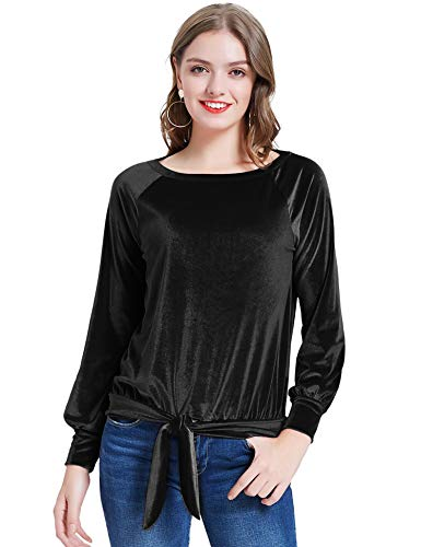KANCY KOLE Women's Casual Velvet Shirts Tie Knot Long Sleeve Blouse Tunic Round Neck Tops (Black,M)