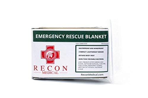 Recon Medical Emergency Rescue Blanket - Waterproof, Compact, First Aid, Lightweight, EMT, Life Saving, Reusable