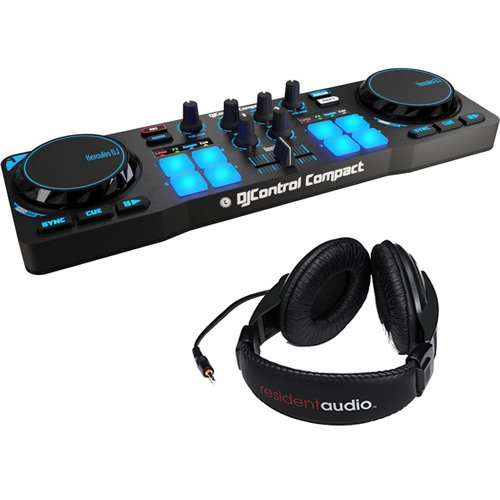 Hercules DJControl Compact DJ Software Controller with R100 Stereo Headphones