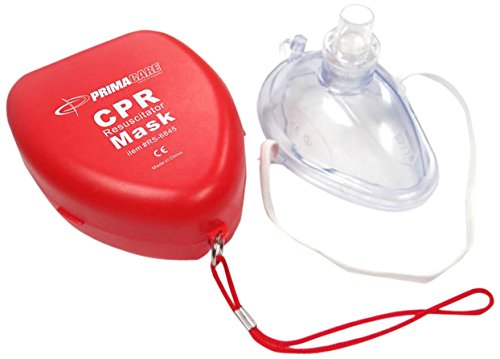 Primacare CPR Mask – Emergency Car First Aid Kit Resuscitation Face Mask, Air Cushioned Edges, Elastic Strap – Single Valve CPR Mask