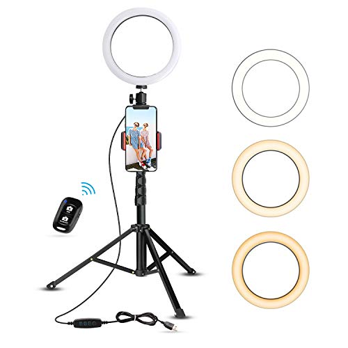 8' Selfie Ring Light with Tripod Stand & Cell Phone Holder for Live Stream/Makeup, UBeesize Mini Led Camera Ringlight for YouTube Video/Photography Compatible with iPhone Xs Max XR Android (Upgraded)