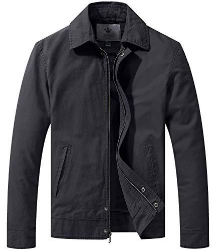 WenVen Men's Jeans Gothic Canvas Work Lightweight Bomers Jacket Gray L