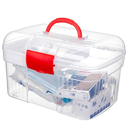 MyGift Red First Aid Clear Container Bin/Family Emergency Kit Storage Box w/Detachable Tray